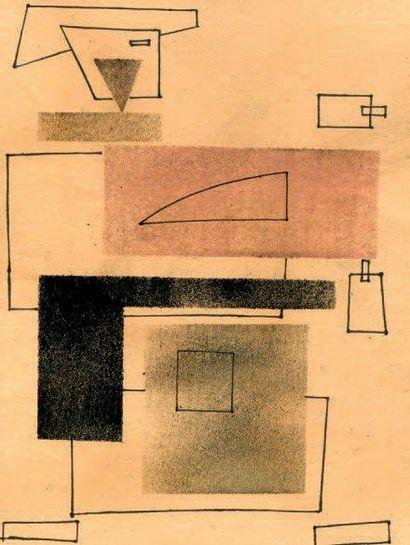 Homme carré Pochoir, encre de chine sur papier...