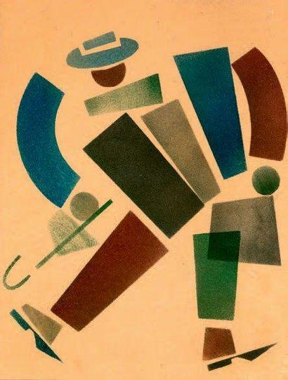 Homme à la canne Pochoir, encre de chine, gouache sur papier 28 x 22 cm