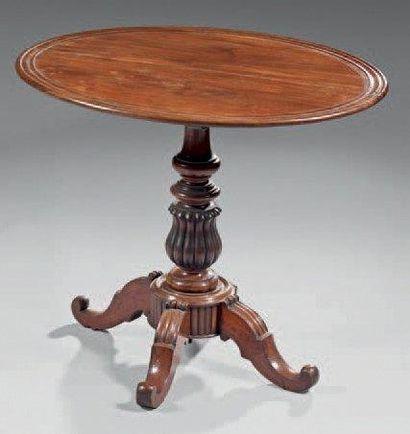 Table à plateau ovale en acajou, à fûts balustres...