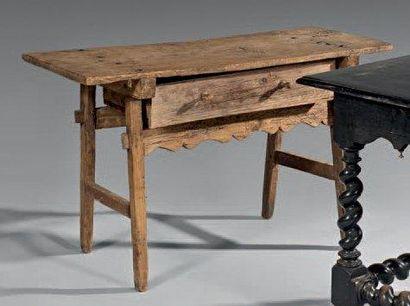 Table à plateau rectangulaire en bois naturel,...