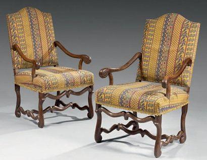 Paire de fauteuils à dossier plat légèrement...