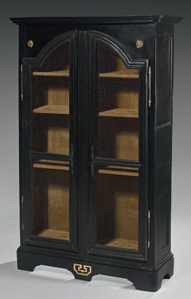 Armoire de bibliothèque en bois rechampi...