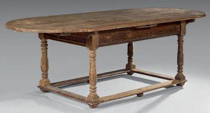 Table en bois naturel et bois de résineux,...