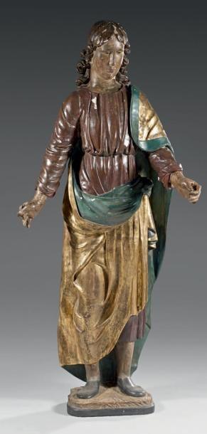 Grand personnage décoratif en bois sculpté...
