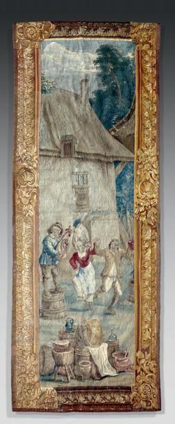 Panneau en tapisserie des Flandres, figurant...