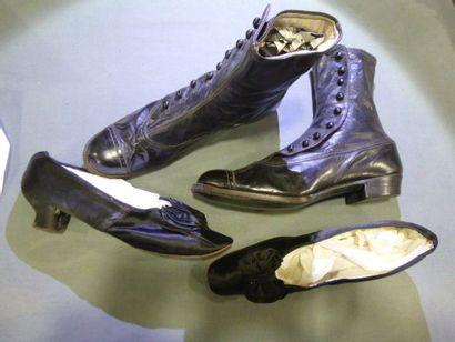 Deux paires de chaussures, fin XIXe siècle....