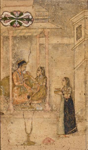 Dessin moghol au couple assis dans un pavillon....