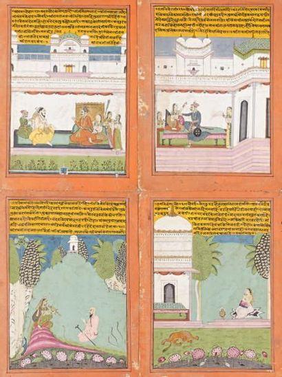 Album comprenant 11 miniatures indiennes...