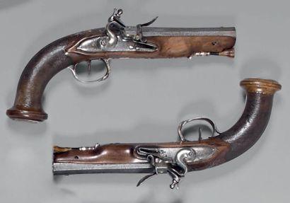 Paire de pistolets à silex d'officier d'infanterie,...