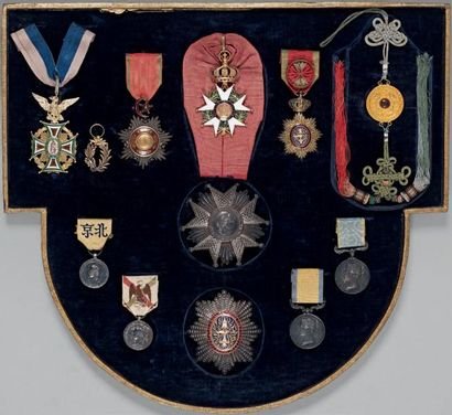 Croix de chevalier en argent et vermeil,...