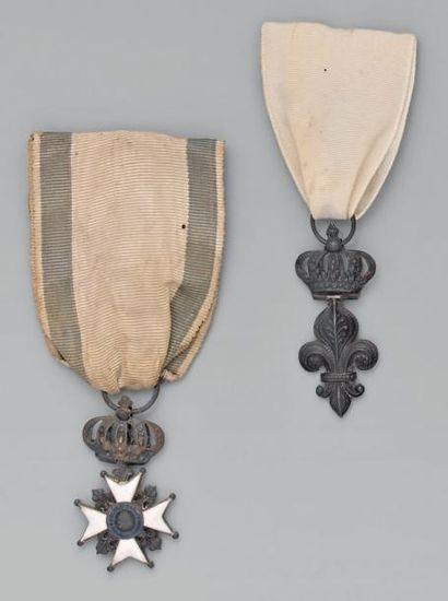 Un insigne de l'ordre du Lys en argent; ruban...