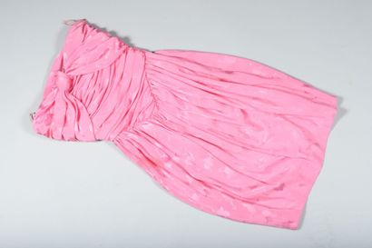 LANVIN  Robe bustier drapée en soie rose...