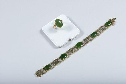 Lot en or 14 k et jade néphrite, composé...