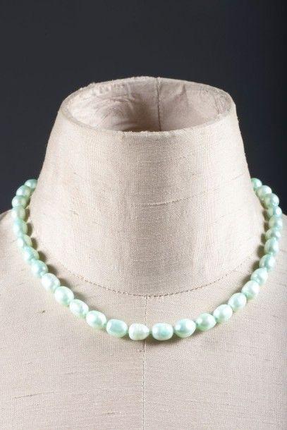 Collier choker de perles baroques d'eau douce...