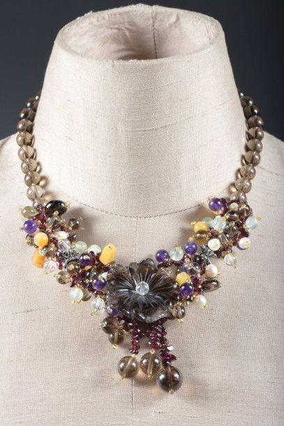 Collier de perles de quartz fumé, pierres...