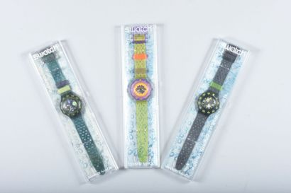 Trois montres Swatch (quelques rayures sur...