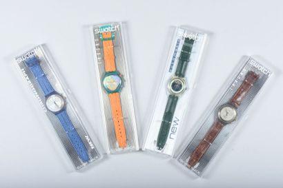 Quatre montres Swatch (queqlues petites rayures...