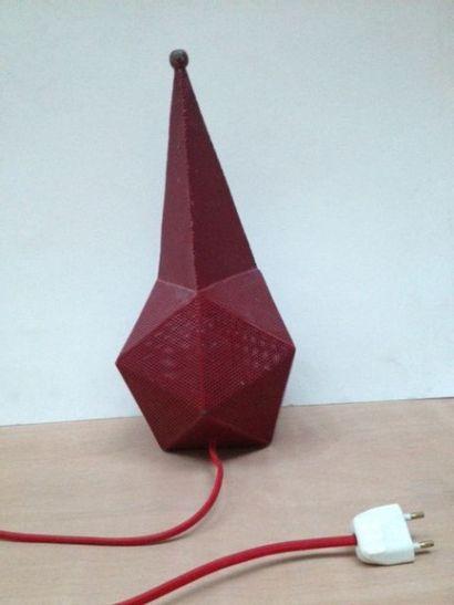 Lampe Bagdag,piriforme en métal rouge perforé...