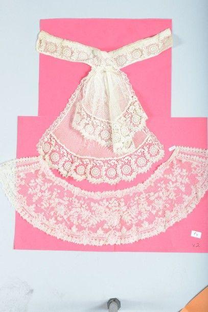 Large volant de robe en guipure de soie mécanique,...