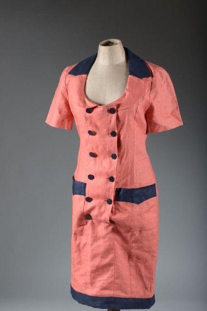 Karl Lagerfeld, Robe en lin framboise, vers...