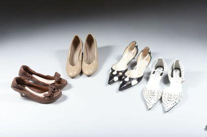 Christian Dior, escarpins cuir noir et pastilles...