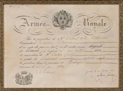 Duchesse de Berry: rare diplôme de service...