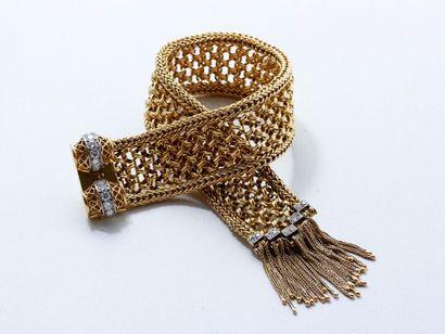 Beau bracelet ceinture en or 18 K et platine,...