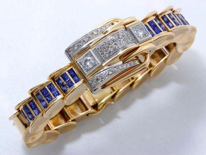 Bracelet montre de dame en or 18 K et platine,...