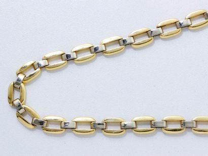 Collier 2 tons d'or 18 K, maille fantaisie,...