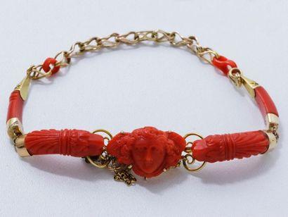 Délicat et charmant bracelet en or 14 K,...