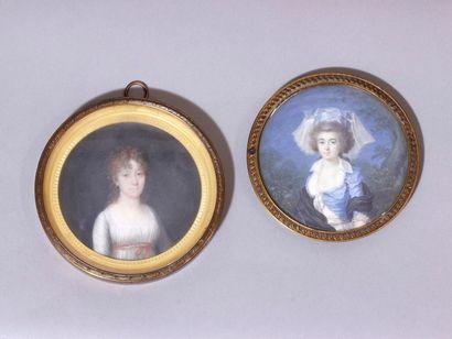 Lot composé de 2 miniatures sur ivoire, représentant...