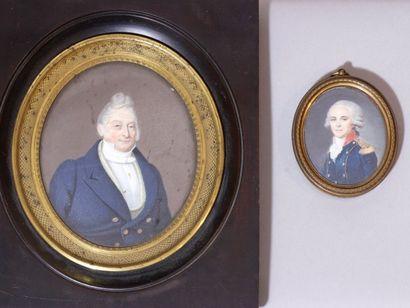 Lot composé de 2 miniatures sur ivoire représentant...