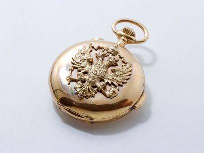 Montre savonnette chronographe en or 18 K,...