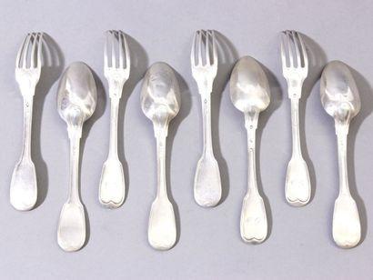 Lot de 10 fourchettes et 7 cuillers à entremets...