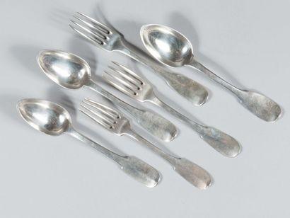 Lot de 6 fourchettes et 6 cuillers en argent...