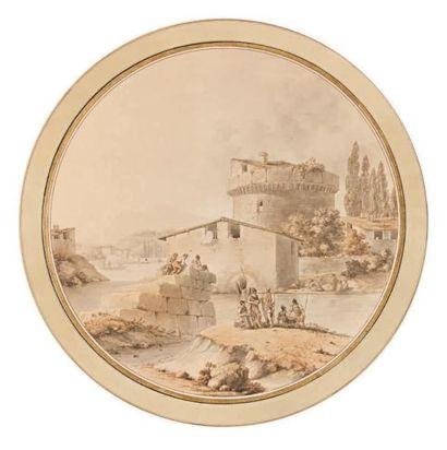 Victor Jean NICOLLE (Paris 1754 - 1826) Soldats au bord d'une rivière près d'une...