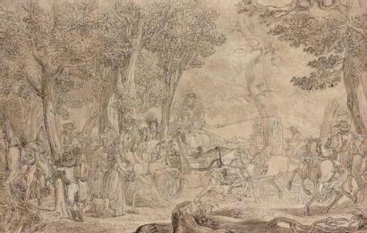 Jean Demosthène DUGOURG (Versailles 1749 - Paris 1825) Elégante compagnie en promenade...