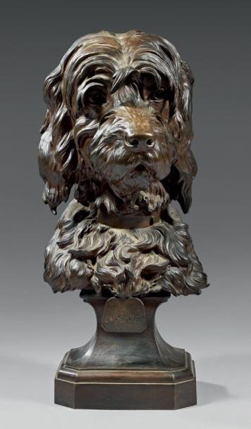 Tête de chien en bronze ciselé et patiné,...