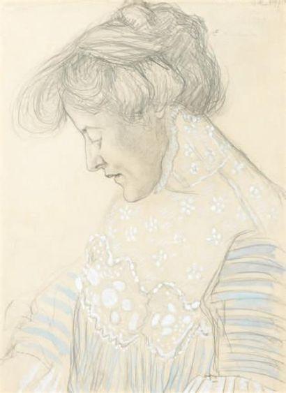 Edgard MAXENCE (Nantes 1871 - La Bernerie en Retz 1954) Portrait de femme de profil...