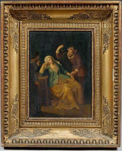 Gerard WIGMANA (Workum 1673 - Amsterdam 1741) La visite du docteur Panneau de chêne,...