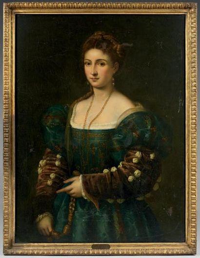 Ecole italienne du XIXème siècle, d'après TITIEN Portrait de La Bella Toile 101 x...