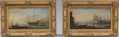 Paire d'huiles sur toile figurant des embarcations à l'entrée de ports. XVIIIème...