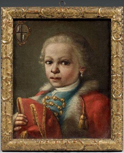 Ecole AUTRICHIENNE du XVIIIème siècle Portrait d'un petit prince Toile. Porte des...