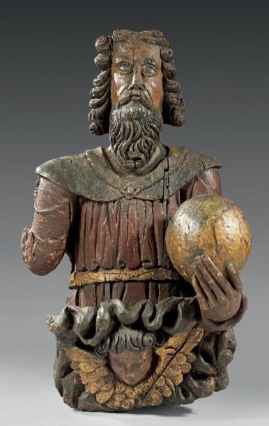 Dieu le père en bois sculpté en ronde-bosse...