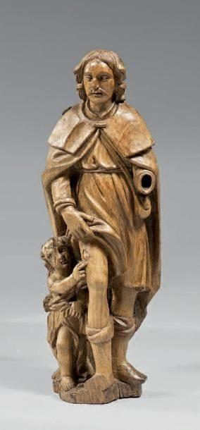 Groupe en chêne sculpté en ronde-bosse représentant...