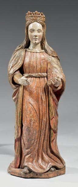 Statue en bois sculpté en ronde- bosse polychrome,...