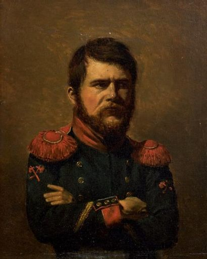 Huile sur panneau: Portrait d'un sapeur d'infanterie...