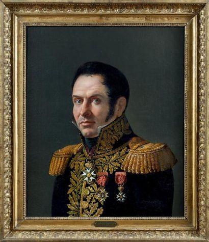 Huile sur toile: Portrait en buste du général...