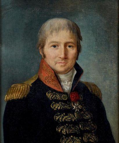 Huile sur toile: Portrait en buste d'un capitaine...