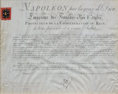 Brevet de chevalier d'Empire sur parchemin,...